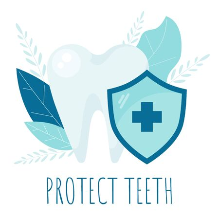 Teeth whitening. Oral dental Protect hygiene. Healthy tooth.  イラスト・ベクター素材