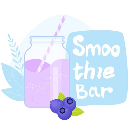 Smoothie bar with glass jar. Blueberries purple smoothie. Healthy diet food. Ilustracja