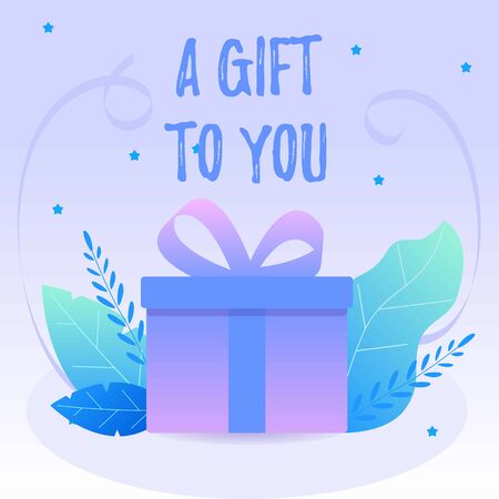 Decorative purple gift box with blue leafs and ribbons. Vector web banner or card Ilustracja