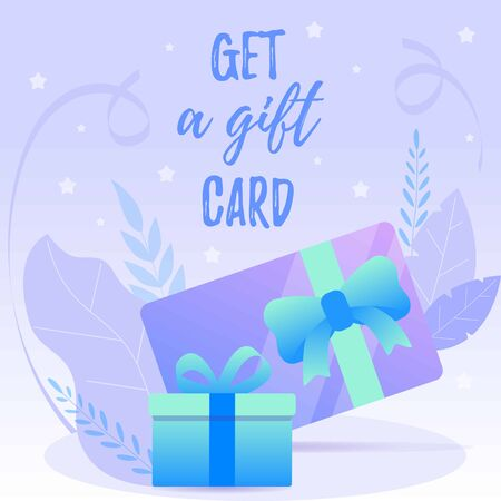 Puple and blue Web banner with gift card decorated ribbons and leafs. Banco de Imagens - 132111641