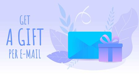 Web banner with gift and message. Blue envelope and purple gift box decorated ribbons and leafs.