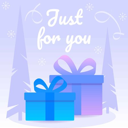 Decorative purple gift box with blue leafs and ribbons. Christmas card with box and eve.