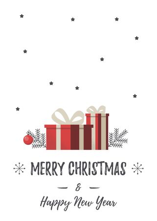Christmas card with presents and eve branch. Red gift box. Vector concept for greeting cards, banners, flyers.