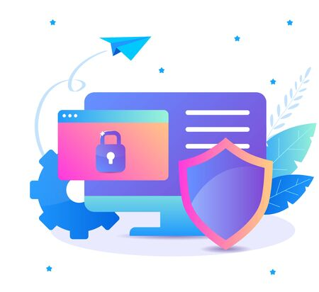 Internet security, data protection flat illustration concept. Computer with protection shield. Vector design concepts for banners, web sites, infographics and presentation.