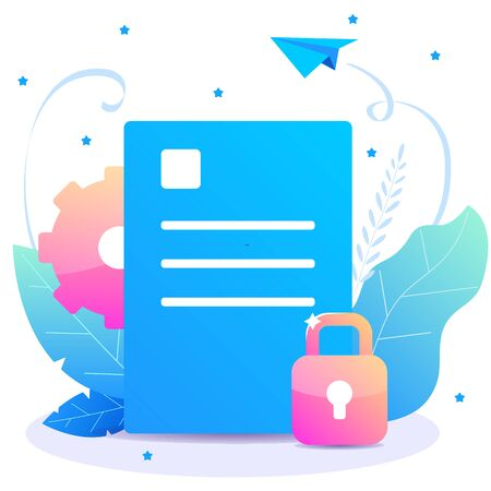 Privacy document. Vector flat concept with locked sheet for your presentation and site. Ilustrace