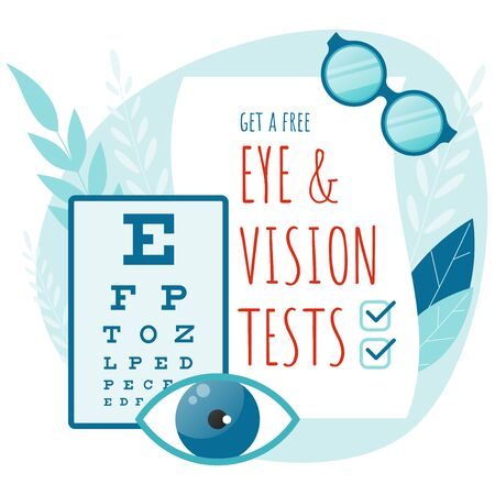 Medical Ophthalmologist Eyesight Check-Up concept. Eye and vision tests. Vector flat illustration. Ilustracja