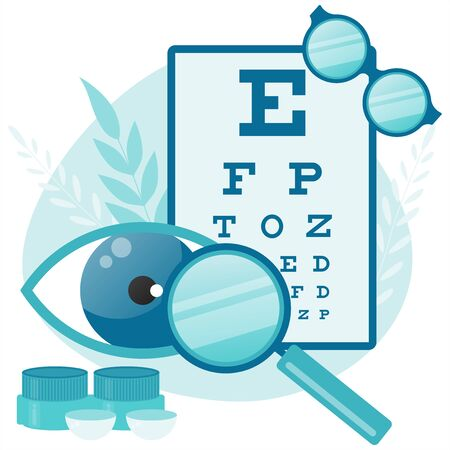 Ophthalmologist Test Myopia Eye. Eye and vision tests. Eyewear. Eyeglasses.