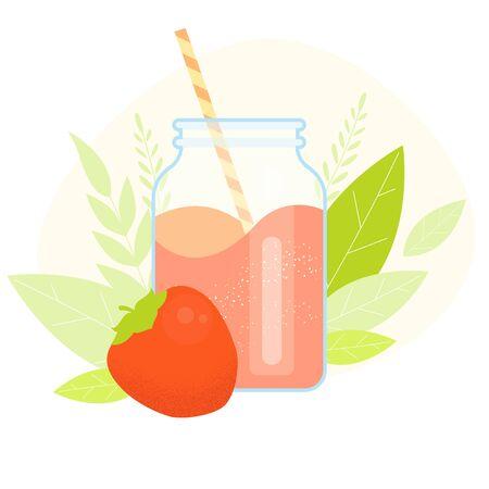Persimmon Milk shake vector flat illustration. Cartoon glass and straw with kaki milkshake
