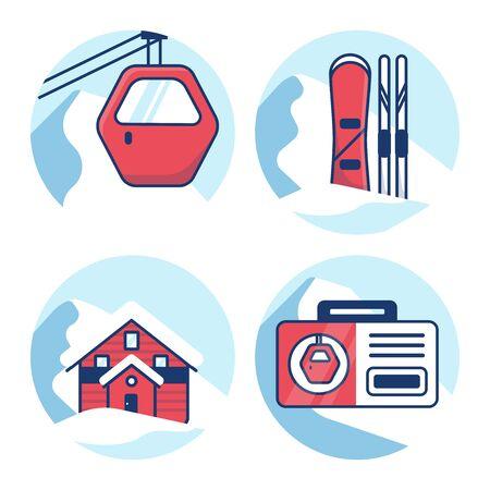 Ski resort icon set. Red cabin lift, Equipment rental, Hotel, mountain shelter, Ski pass.