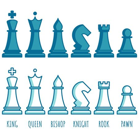 Chess pieces line collection. Chess game icon set. Simple flat set of chess game.