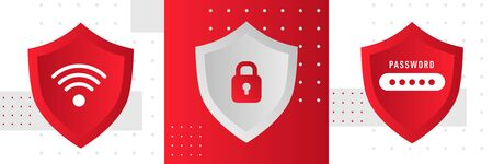 Abstract red security concept with shield. Cyber password security illustration.  イラスト・ベクター素材