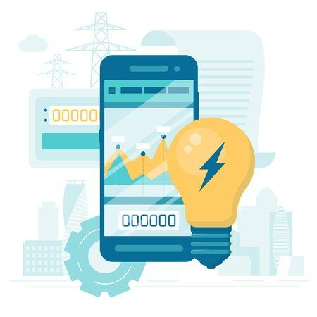 Smart energy consumption concept. Flat Cartoon Vector Illustration