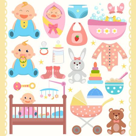 Baby flat icons set.