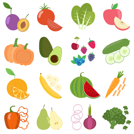 Set of fresh healthy vegetables, berries and fruits. Slices of fruits and vegetables. Flat design. Organic farm illustration. Healthy lifestyle vector design elements. Illustration