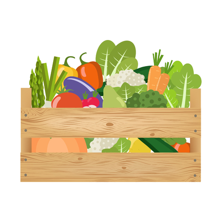 Fresh healthy vegetables in a wooden box. Vector illustration.