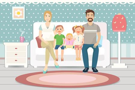 Happy family with children sitting on sofa in the living room. Flat design. Illustration