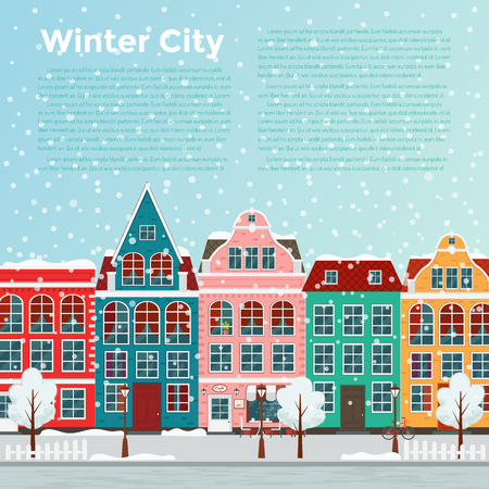 Winter european city. Illustration