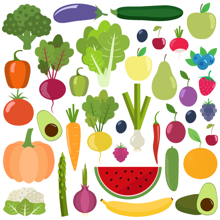 Set of fresh healthy vegetables, fruits and berries. Slices of fruits and vegetables. Organic farm illustration. Healthy lifestyle vector design elements.
