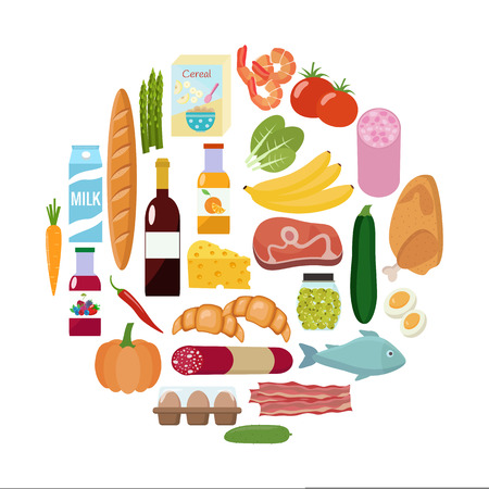 produits céréaliers: Grocery set. Milk, vegetables, meat, chicken, cheese, sausages, wine, fruits, fish, cereal, juice. Vector illustration, flat design.