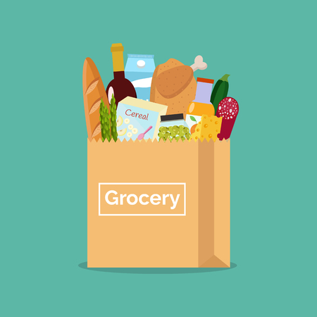Paper bag with fresh organic food. Shopping at the grocery store.