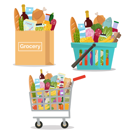 Grocery in a paper bag, in a cart and shopping basket. Illustration