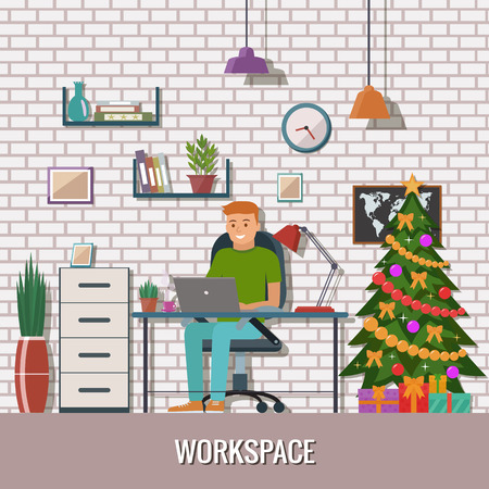 Man vector character working in the office or home. Freelance workspace. Christmas work place
