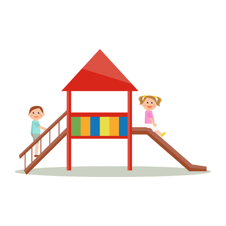 Kids playing playground slider cartoon style, vector art isolated on white.