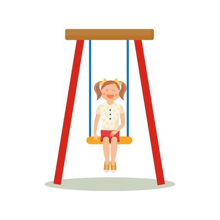hulahoop: Cute girl playing on swings Illustration