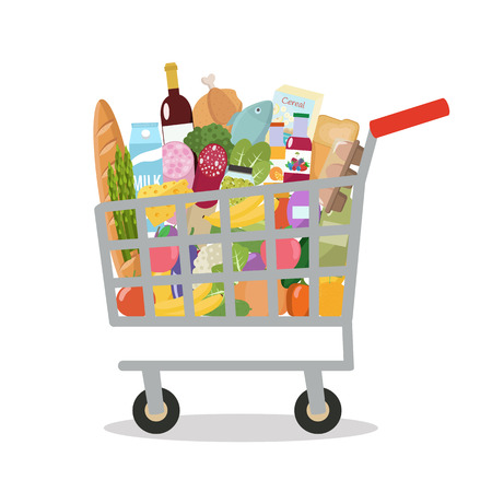 Grocery in a shopping cart. Vector illustration. Flat design.