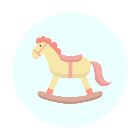 Cute horse toy. Flat design.