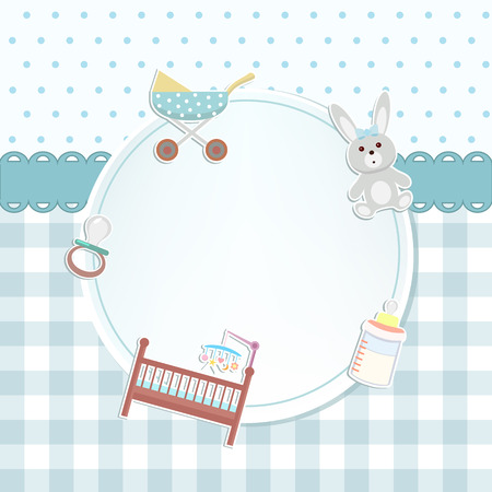Baby boy shower or arrival card with a pram, rabbit toy, bottle of milk, cot, pacifier. Flat design Illustration