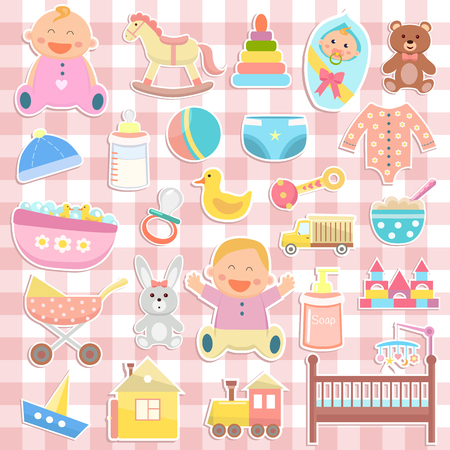 Cute baby icons stickers on checkered background Illustration