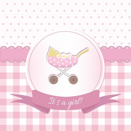 Baby girl shower or arrival card with a pram. Flat design Illustration