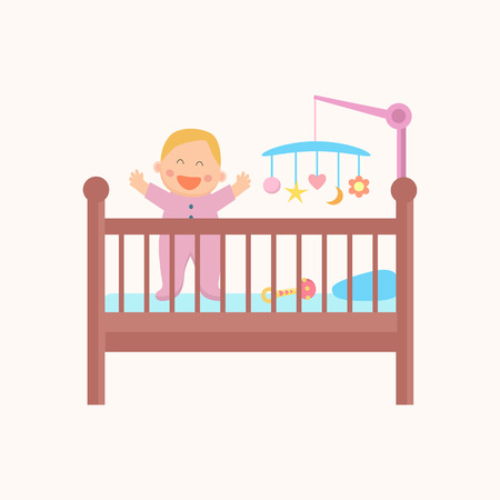 Happy standing  baby is in  the crib. Flat design. Illusztráció