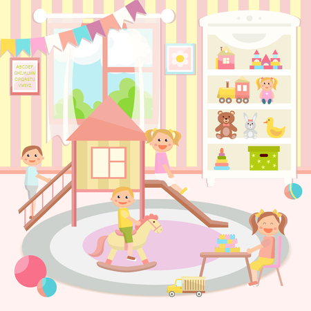 Kindergarten vector illustration. Flat design. Children's activity in the play room. Playing, education. Vettoriali