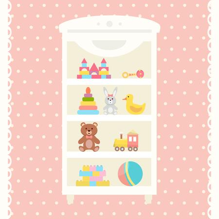 Toys shelf with teddy bear, train, pyramid, rattle, building kit, rabbit toy, duck, ball. Flat design.