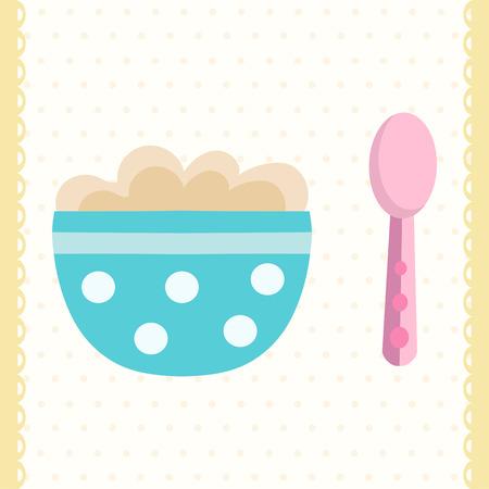 아기 죽 그릇과 숟가락입니다. 평면 디자인 일러스트
