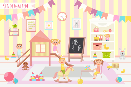 Kids club vector illustration. Kindergarten. Flat design. Children's activity in the play room. Playing, education.