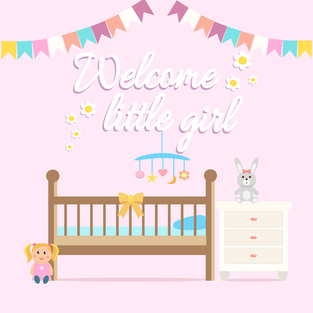 Baby girl shower greeting card. Welcome baby girl card with a cot