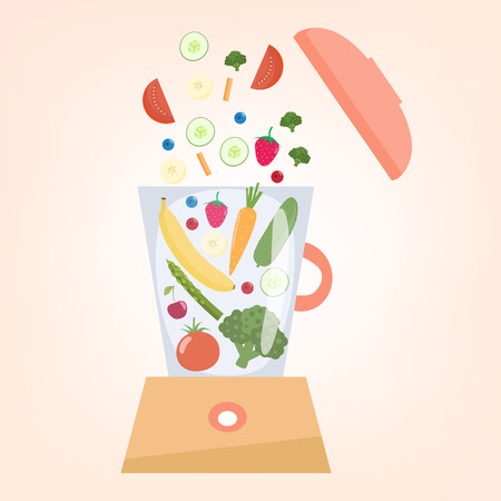 Food processor, mixer, blender with fruits, berries and  vegetables.Slices of vegetables and fruits Illustration