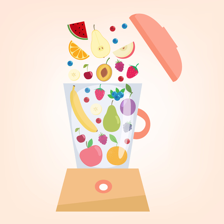 veg: Food processor, mixer, blender with fruits  and berries.Slices of fruits. Illustration