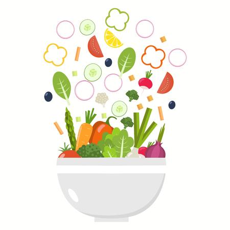 Vegetable bowl. Slices of vegetables. Flat design.