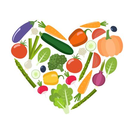 Veg heart. Organic farm illustration. Healthy lifestyle vector design elements. Healthy colorful vegetables. Flat design.