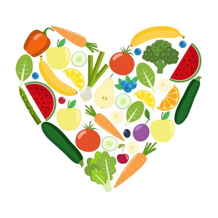 Veg heart. Organic farm illustration. Healthy lifestyle vector design elements. Healthy colorful vegetables, fruits, berries. Flat design. Illustration