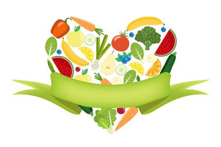 ラベルを持つ野菜と果物中心。有機ファームの図。健康的なライフ スタイルのベクトルのデザイン要素です。カラフルな野菜。フラットなデザイン
