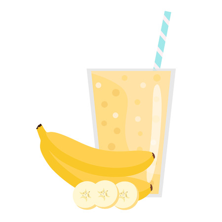 . Banana smoothie. Organic fruit shake smoothie. Flat design. Vector illustration. 向量圖像