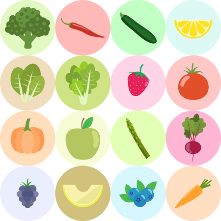 Set of fresh healthy vegetables, fruits and berries isolated. Flat design. Organic farm illustration. Healthy lifestyle vector design elements. Illustration