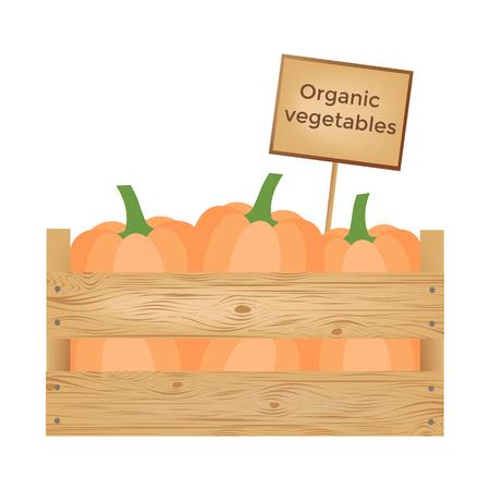 Boîte en bois de cultures biologiques légumes. illustration vectorielle Banque d'images - 90043442