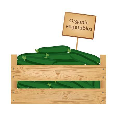 Boîte en bois de légumes biologiques frais. illustration vectorielle Banque d'images - 90043452