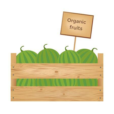 Boîte en bois de pastèques. Illustration vectorielle Banque d'images - 90043453